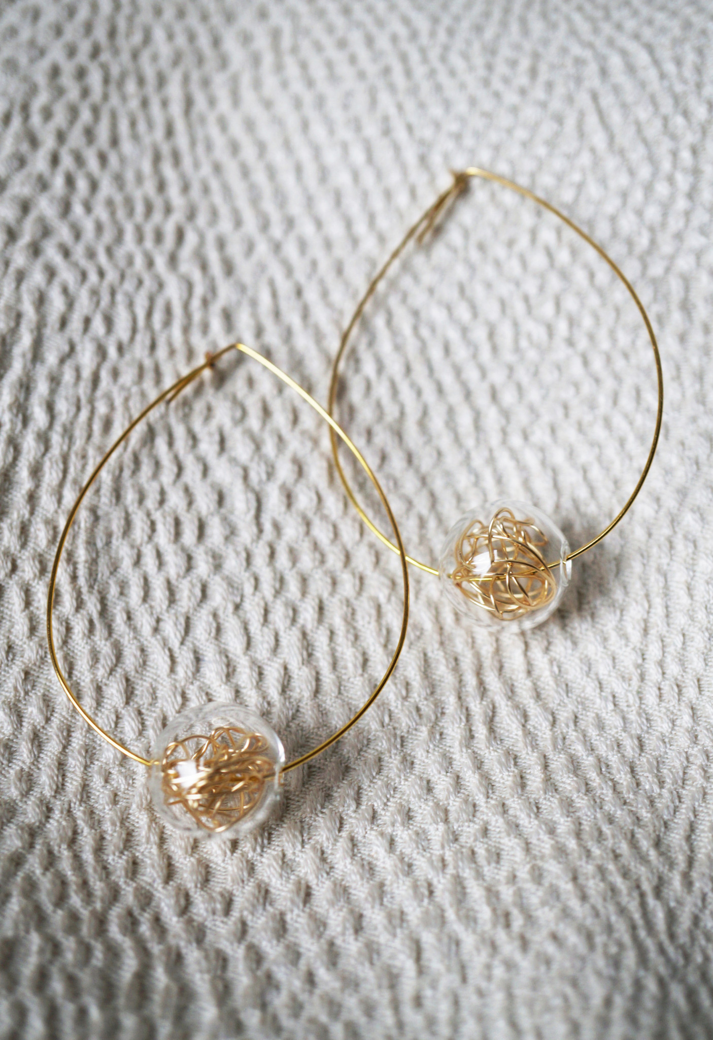 Resonant Floating Glass Beads & Wire Hoops - Brave Chick
